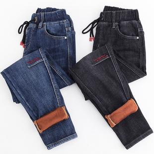 牛仔褲女寬鬆高腰秋冬加厚鬆緊腰蘿蔔褲哈倫褲顯瘦加絨大碼褲子