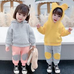 女童秋冬装套装2020新款女宝宝衣服3岁加绒加厚洋气1儿童运动卫衣