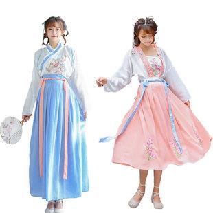 中國風古裝漢服女成人超仙氣飄逸古風齊胸襦裙原創改良廣袖流仙裙