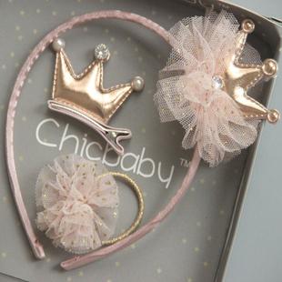 韓國兒童髮飾套裝公主皇冠蝴蝶結髮箍寶寶髮夾小女孩髮圈頭飾禮盒