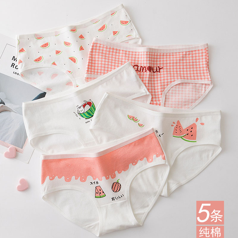 Underwear girl cotton girl Japanese middle low waist cute sweet cotton large cartoon triangle shorts student high school
