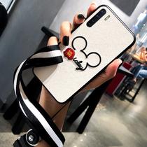 OPPO A91蚕丝手机壳oppo a91刺绣米老鼠硅胶套A8保护壳挂绳软全包
