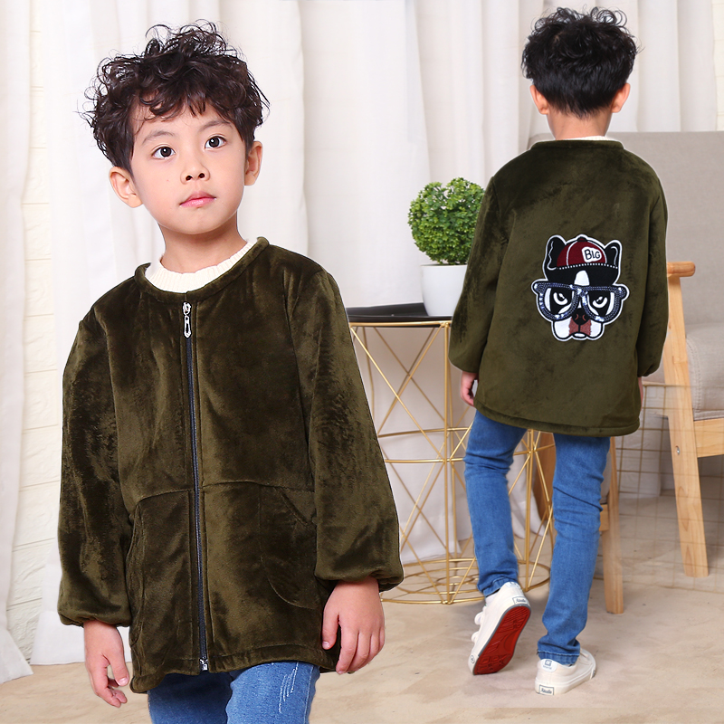 Boys baby down jacket cover up crystal down zipper coat small, medium and large childrens long sleeve protective clothing eating Bib