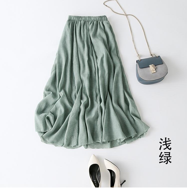 中长款夏季棉麻半身裙女 亚麻纯色长裙子文艺森女小清新大摆A字裙