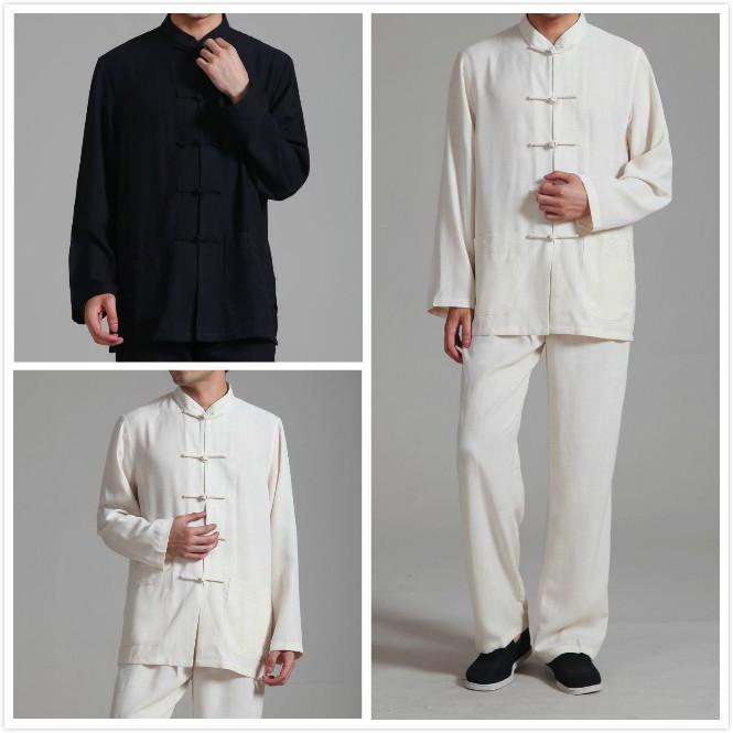 上衣加裤子 薄软丝棉麻男式大码套装 夏季男长袖唐装垂感透气凉爽