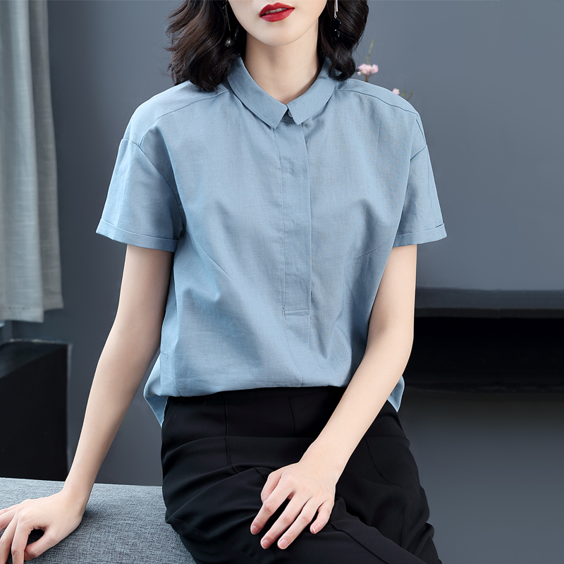 Cotton linen white shirt womens short sleeve 2020 new summer Korean shirt linen design sense minority top occupation