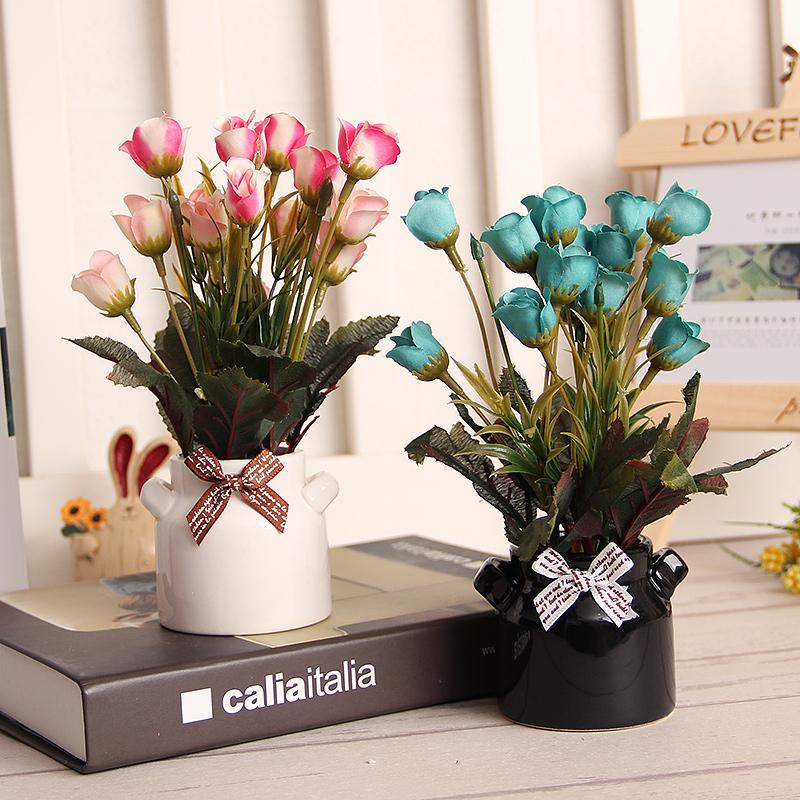 zakka创意家居装饰摆件桌面杂物小物件摆放假花花卉盆栽套装饰品