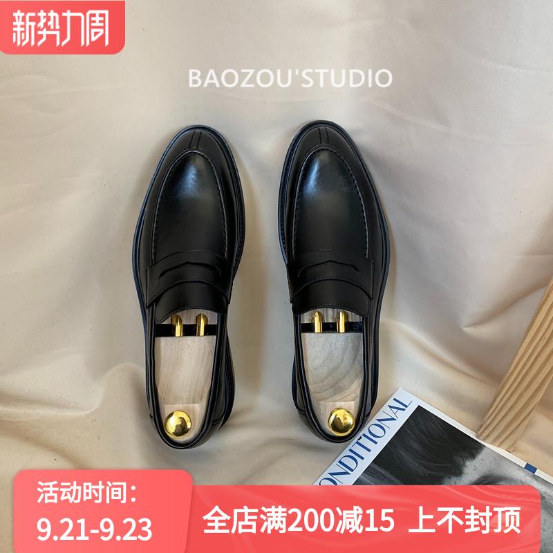 抱走推土机韩版ins复古纯色小皮鞋套脚时尚简约黑色皮鞋男一脚蹬