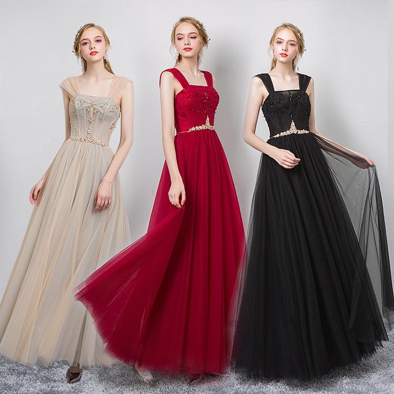 伴娘服显瘦遮肉2020新款女姐妹晚礼服夏季高贵年会主持人礼服仙小