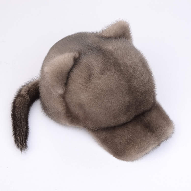 New mink Hat Womens whole mink fur duck tongue cap autumn winter warm ear protection cat ear fashion baseball cap
