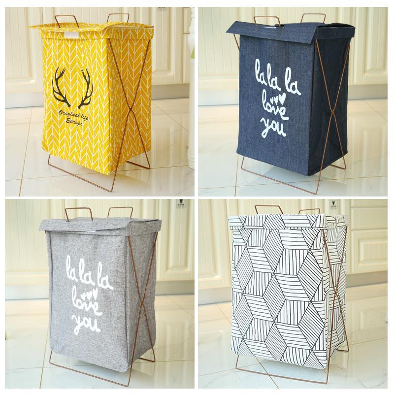 衣袋圆形玩具杂物脏衣服收纳筐篮子北欧带盖储物可爱角落脏衣篓子