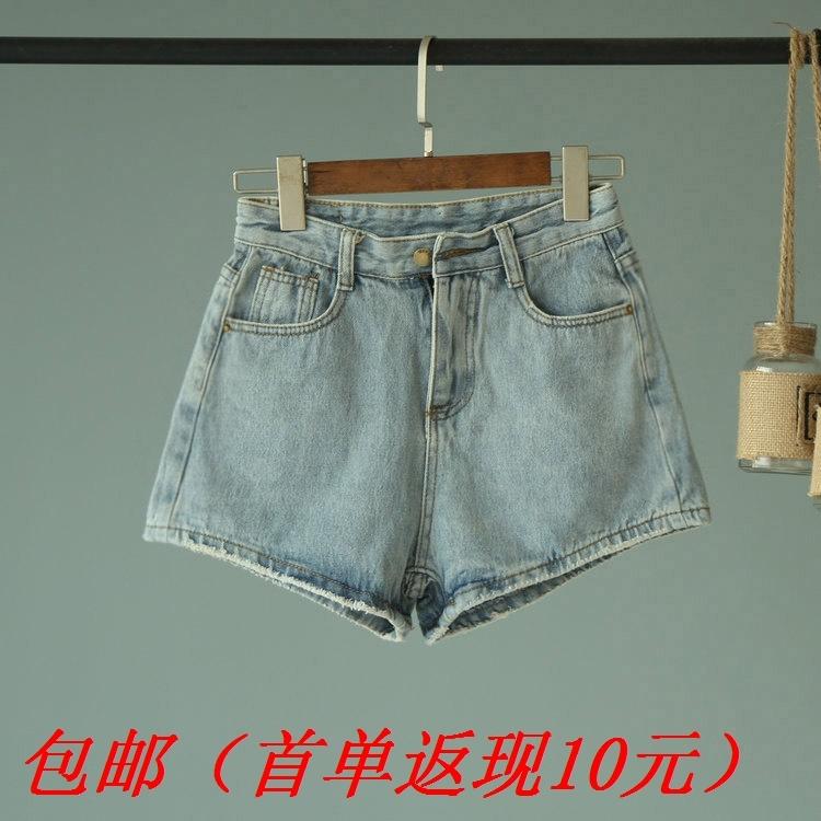 [欧玛莱]好质量简单百搭款韩范高腰牛仔短裤夏季新款爆款推荐7584
