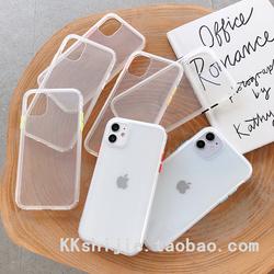 简约撞色彩色按键透明壳苹果11promax手机壳7/8plus/XS/XR 防摔壳