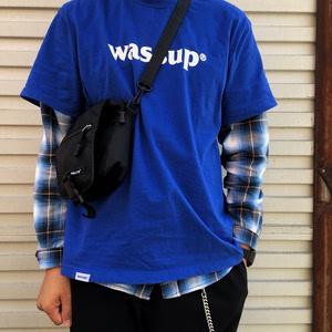 岛民潮店WASSUP五色圆领基础Logo休闲纯色半袖纯棉打底衫短袖潮T