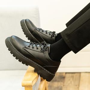 新款男韩版潮流帅气系带英伦小皮鞋
