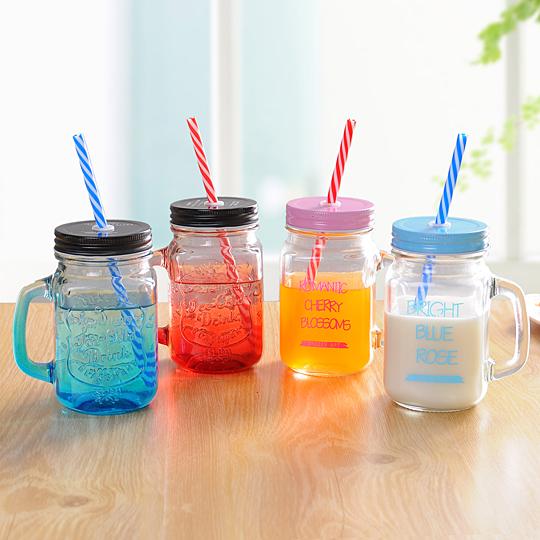 渐变彩色玻璃杯创意果汁饮料带盖杯子公鸡杯学生女有吸管水杯