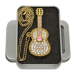 欧速 水晶吉他8gu盘 创意项链珠宝优盘正品 生日礼品专属刻字定制