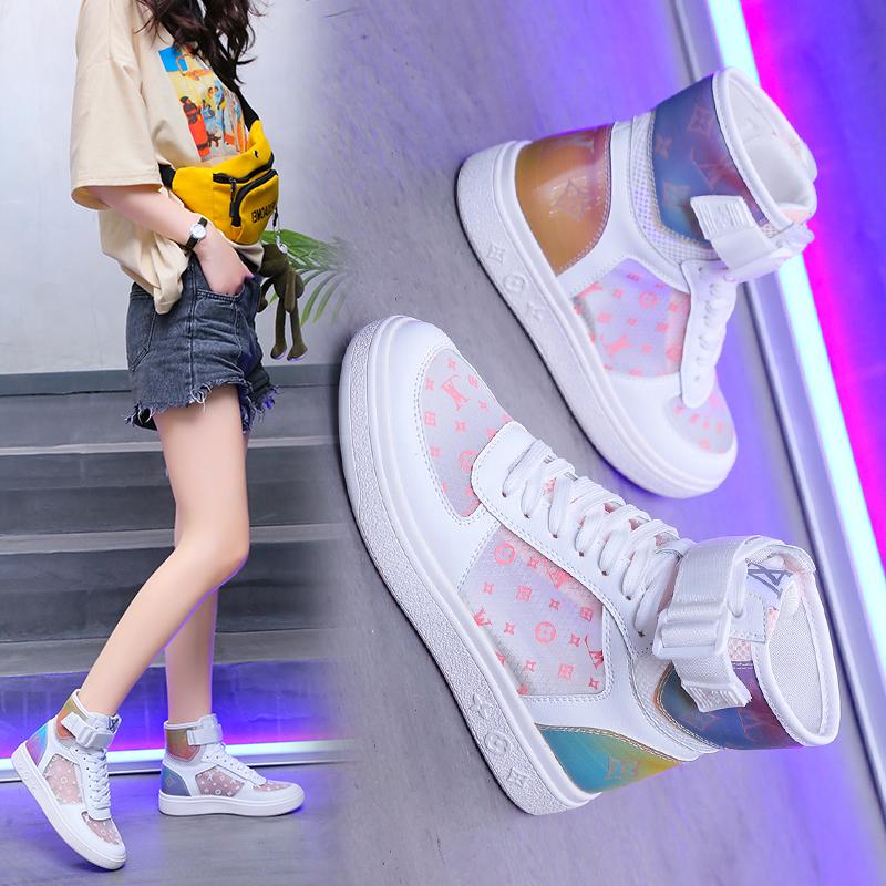 轩尧耐克泰aj空军一号女鞋子樱花粉色夏季单网面透气高帮板鞋正版