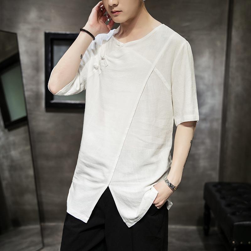 2019中国风棉麻中长款短袖T恤大码男QT4026—TX106—P55,限价78
