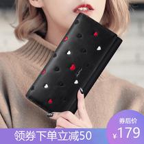 零钱包女长款布艺手拿包三层拉链手包女士钱包大容量大屏手机包袋