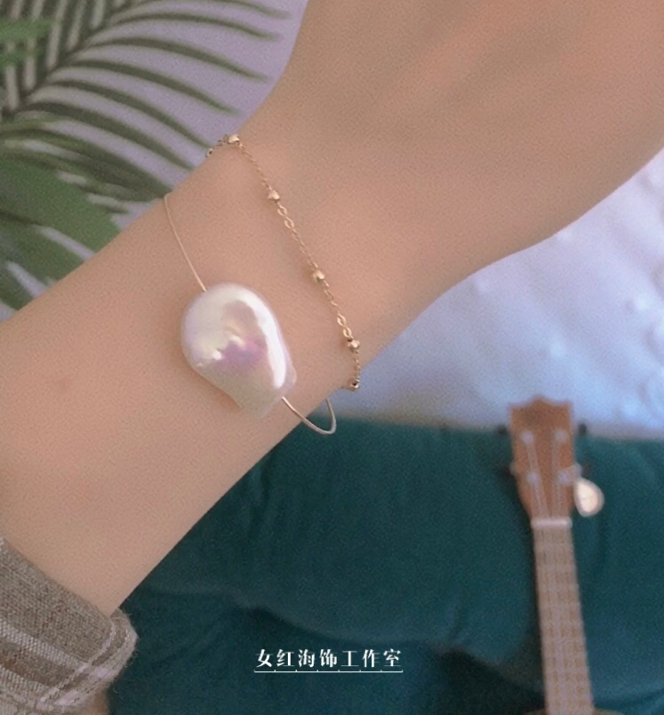 [mirage] Baroque bracelet, chain, glittering pearl chain, Baroque with natural charm