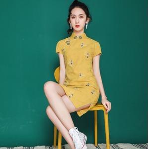法式旗袍2020年新款年轻款高腰中国风复古民国女装少女改良连衣裙
