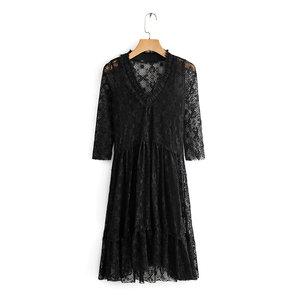 k71清仓特价夏季新款 女性感吊带V领蕾丝长袖连衣裙两件套套装