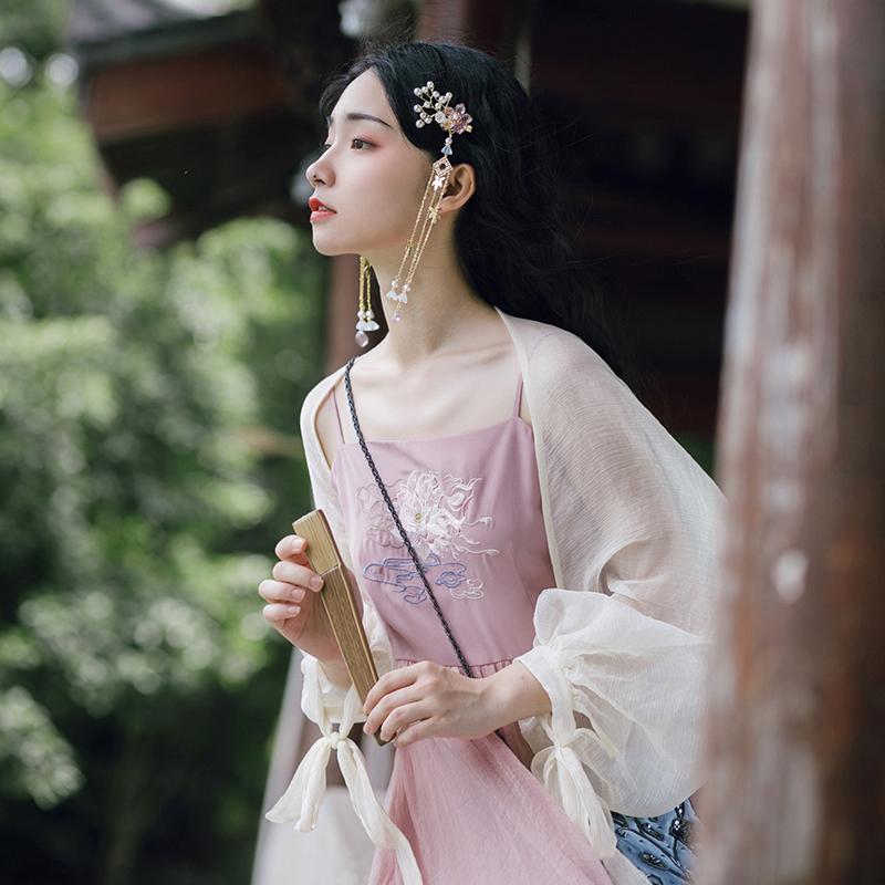 梅子熟了.汉 原创设计复古雪纺防晒衫搭配吊带小开衫女2019夏超仙