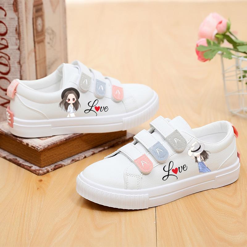 2020春季韩版百搭皮面平底魔术贴女学生小白鞋可爱涂鸦休闲板鞋