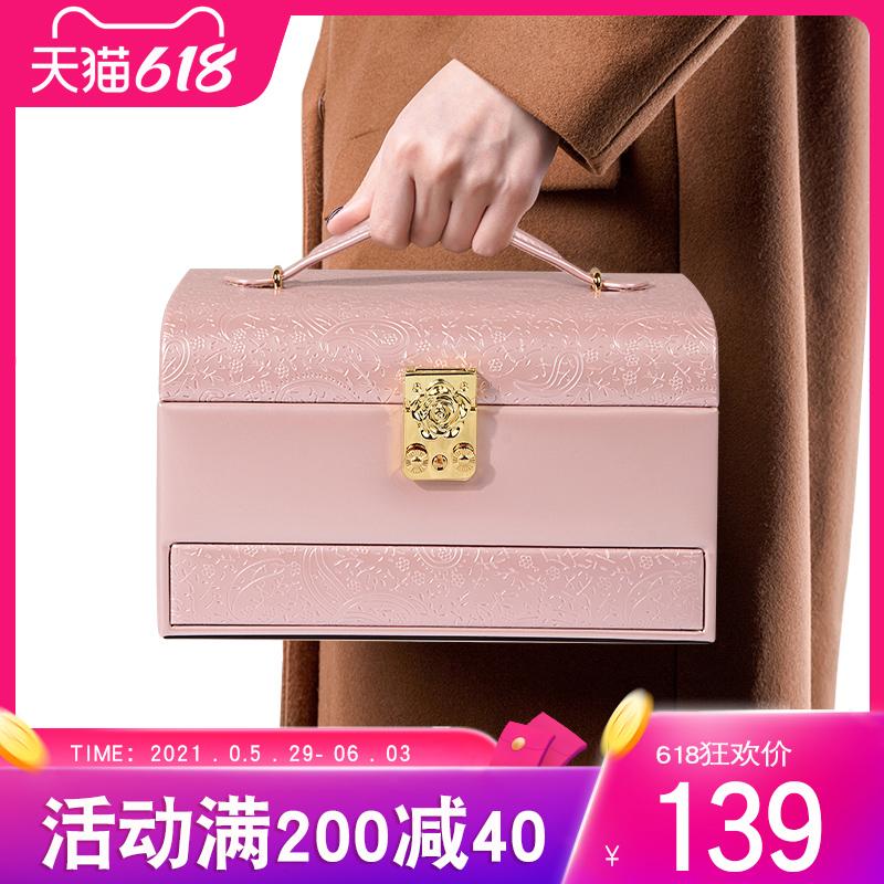 带锁首饰盒公主欧式韩国木质收纳盒手饰品盒化妆珠宝盒批发礼物女淘宝优惠券