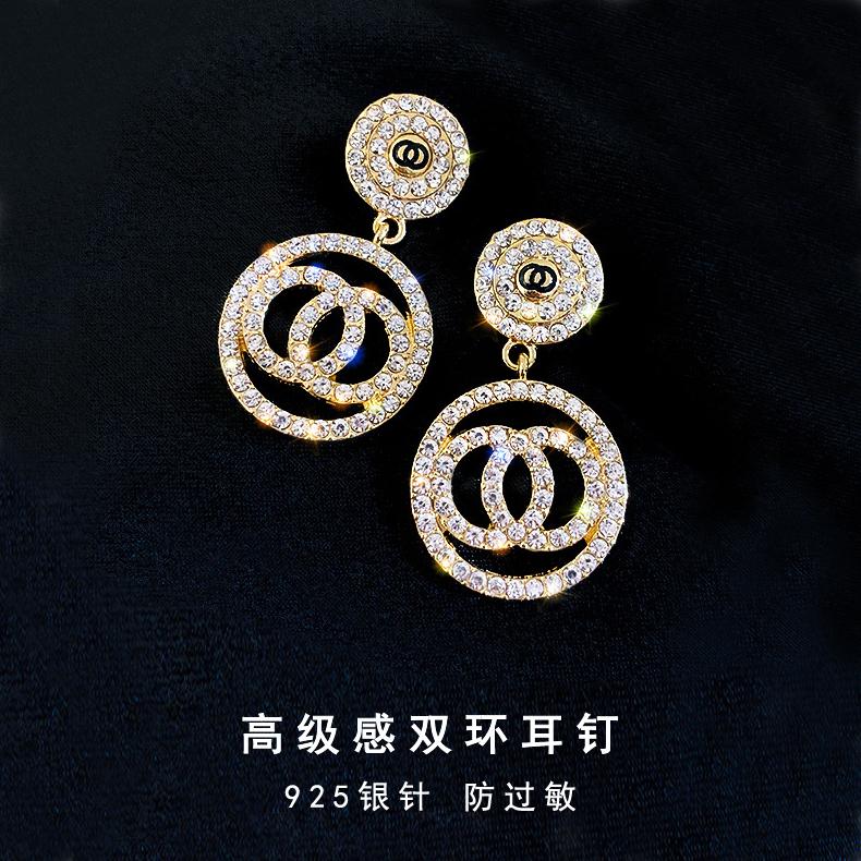 925银针冷淡风法式复古耳钉小香风珍珠双c耳环高级感闪钻网红耳饰
