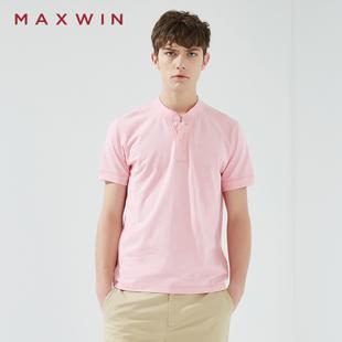 【马威】夏季男式素色全棉休闲百搭T恤