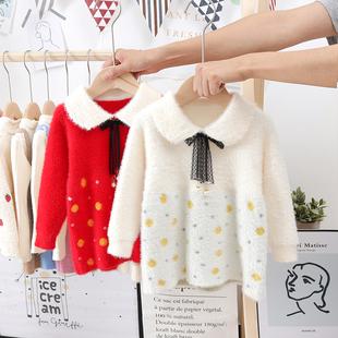 女童春秋連衣裙2019新款針織衫1-3歲2兒童裝女寶寶洋氣水貂絨毛衣
