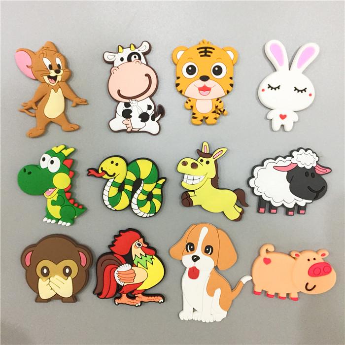 软胶儿童早教识图冰箱贴耐摔磁扣十二生肖动物磁贴 幼儿教学宝宝