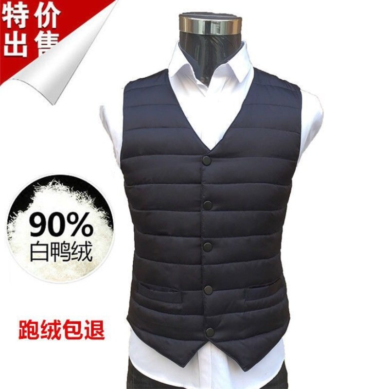 Autumn and winter warm waistcoat, down jacket, mens middle-aged V-neck suit, large vest, slim duck down collarless vest