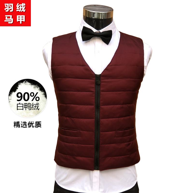 Fashionable mens winter oversized shoulder down suit waistcoat light and warm suit waistcoat clip slim zipper vest