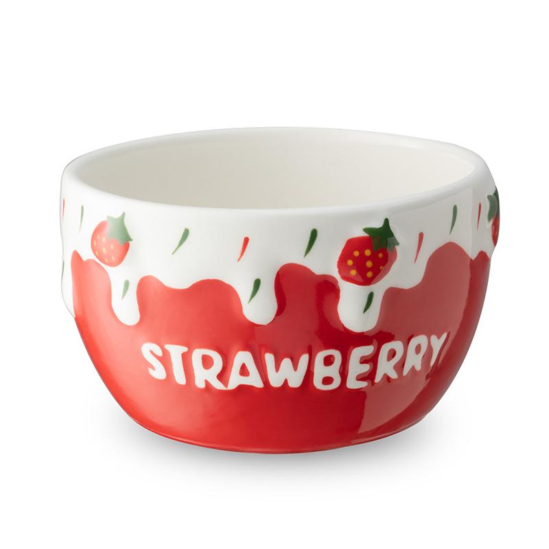 包邮可爱陶瓷草莓碗少女心燕麦早餐碗陶瓷水果沙拉碗酸奶碗甜品碗