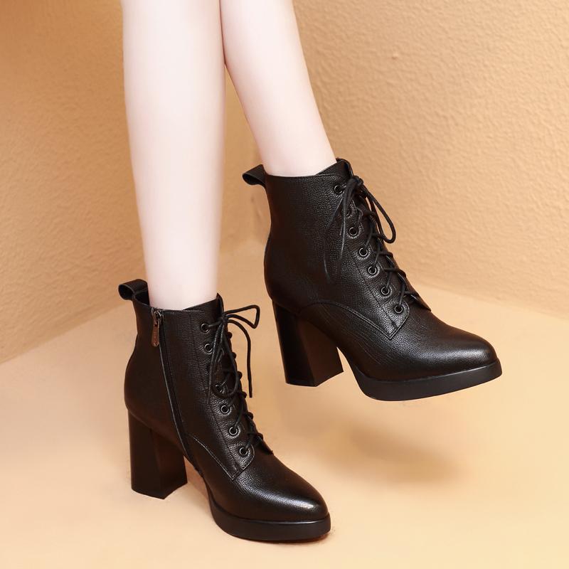 悦丽娜秋冬季真皮粗跟短靴女兆女鞋香阁儿正品卡美多路贝佳马丁靴