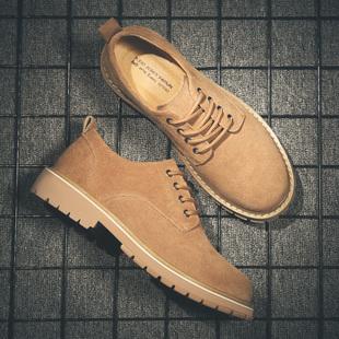 英伦工装 马丁鞋 百搭真皮鞋 子低帮靴加绒休闲皮鞋 新款 潮鞋 男冬季 鞋