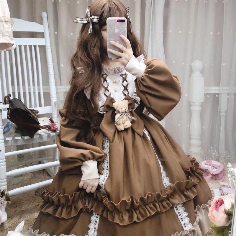 连衣裙2020新款长款学生韩版宽松lolita裙op长袖洛丽塔裙子全套萌