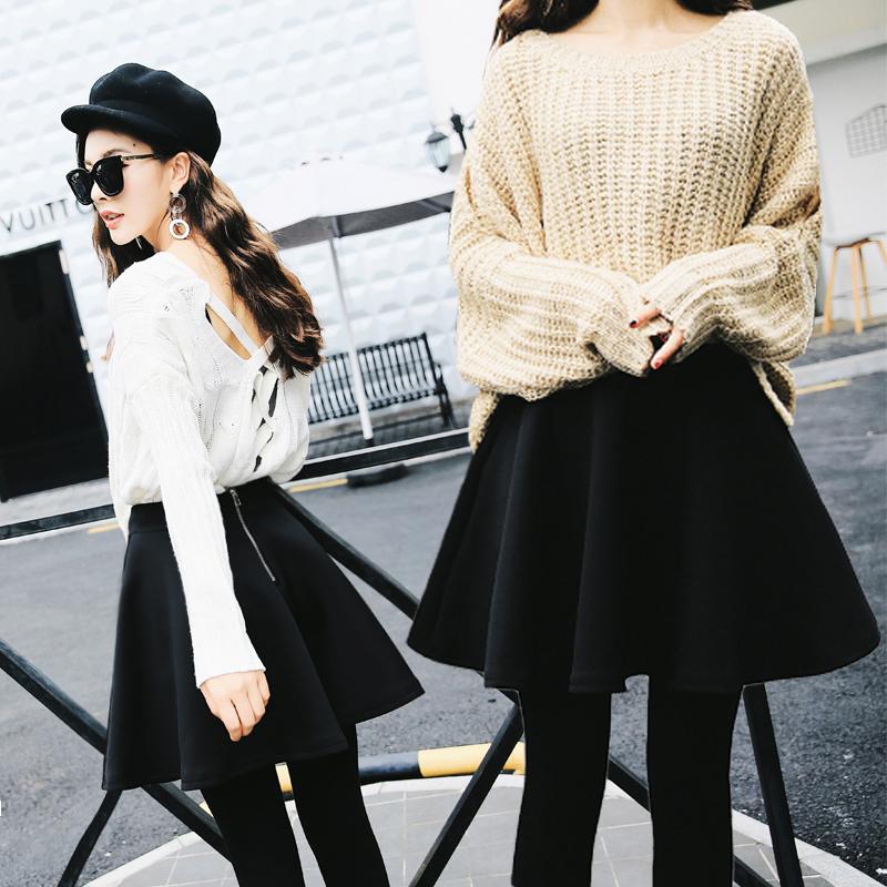 2019 half skirt temperament autumn and winter show thin high waist fluffy skirt space cotton large sun skirt umbrella skirt A-line short skirt