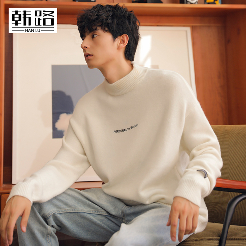 Hanlu mens sweater autumn 2019 new knitwear mens ins embroidery long sleeve casual top