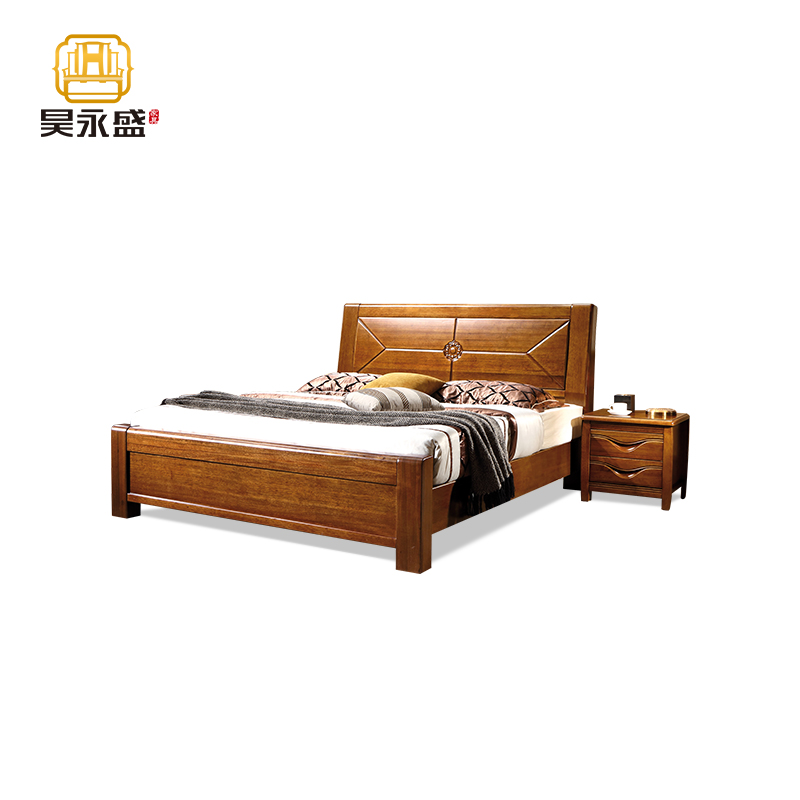 Hainan haoyongsheng furniture Chinese style minimalist walnut solid wood double bed Chengmai old city walnut high back bed
