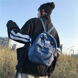 百搭双肩包女韩版大学生简约日系古着感书包ins超火的帆布小背包