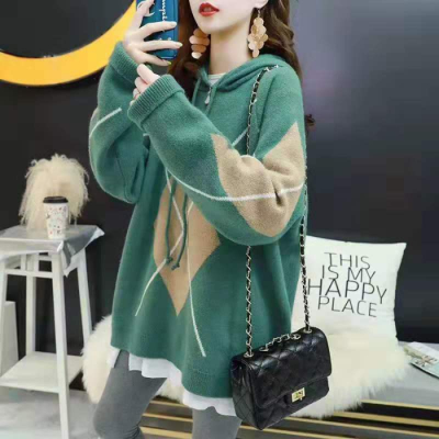 Autumn winter maternity autumn suit autumn loose top mid length winter bottoming top fashion Hooded Sweater