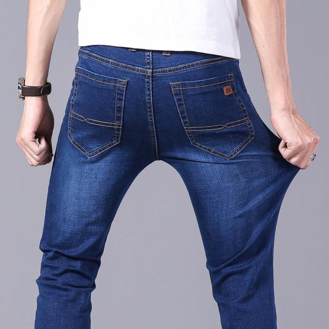 男士牛仔裤2021春夏季薄款直筒宽松中高腰中年百搭商务弹力长裤男