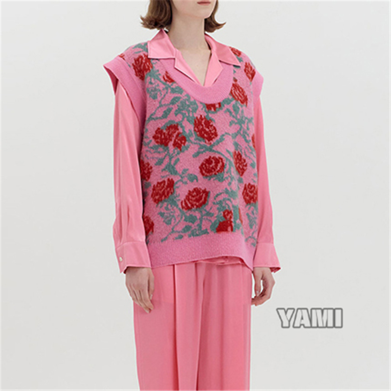 Eenk 20 aw20 retro rose print Pullover Sweater Flower knitted vest wool coat womens top