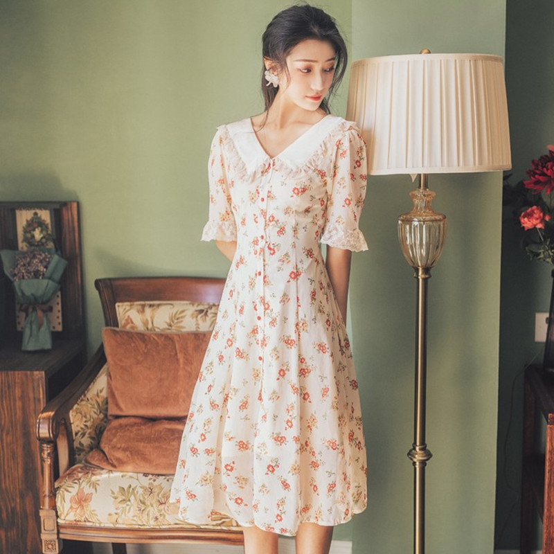 First love retro dress Yamamoto spring and autumn dress sweet and fairy French minority dress