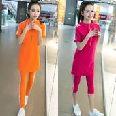 欧洲站2018夏季新款半袖休闲运动套装女时尚韩版修身显瘦两件套潮