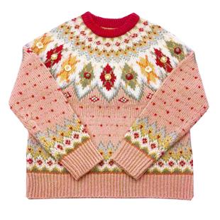 野毛豆自制 馬卡龍少女軟妹冰島摩天輪古着寬鬆毛衣女秋冬外套